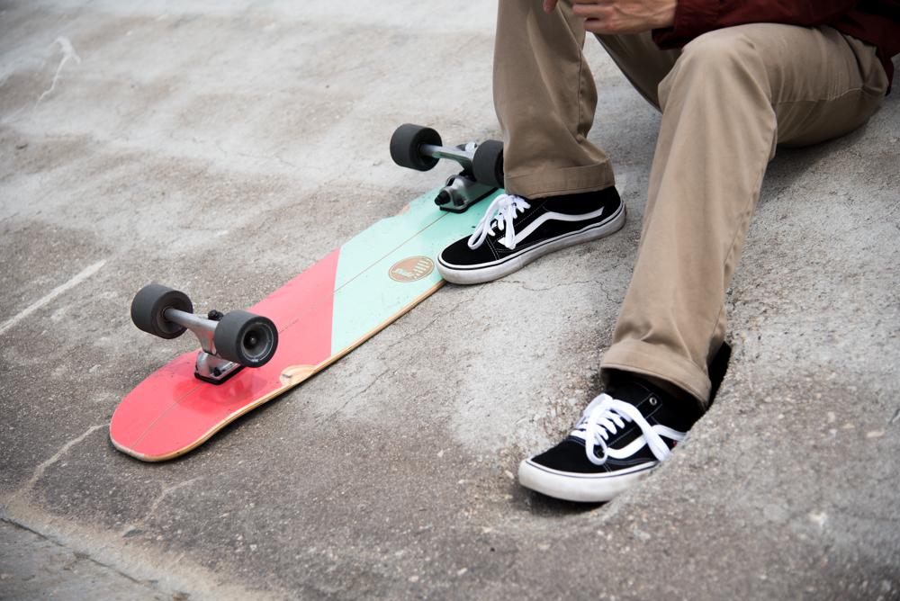 Gussie Amuitz surf skate and Vans Old Skool